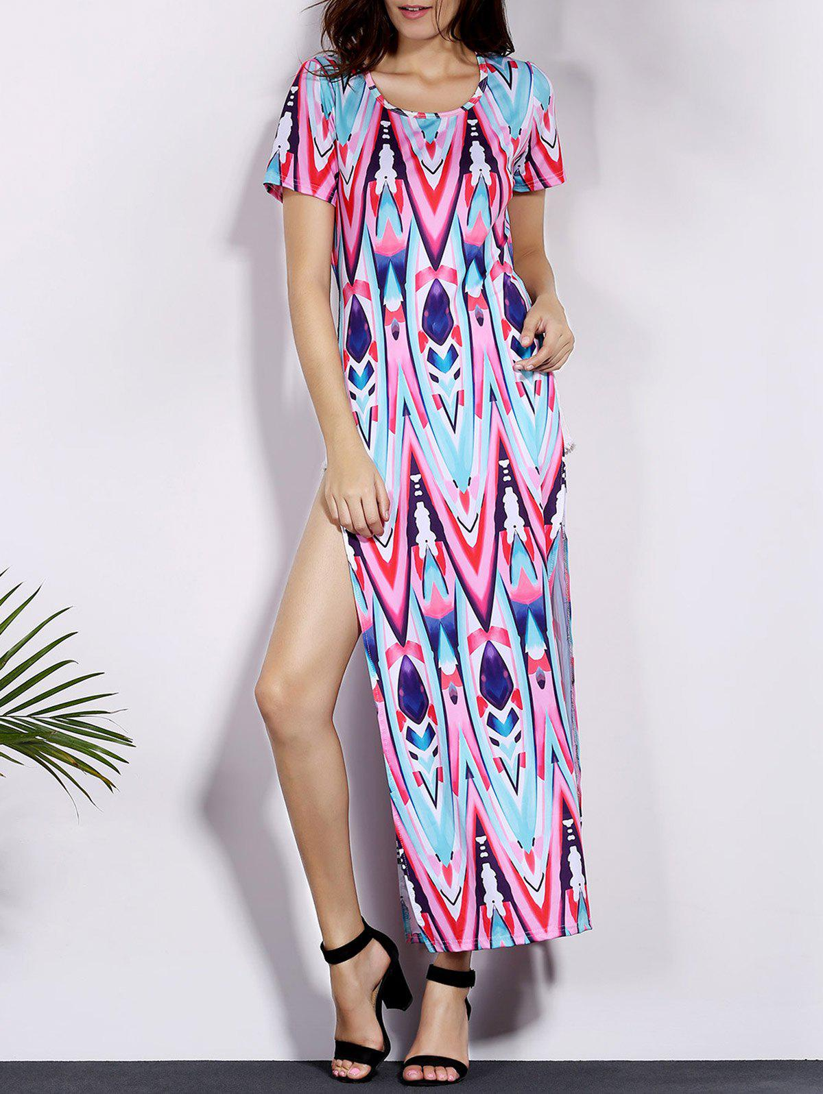 Alluring Printed Short Sleeve Side Slit Women's Dress - COLORMIX M