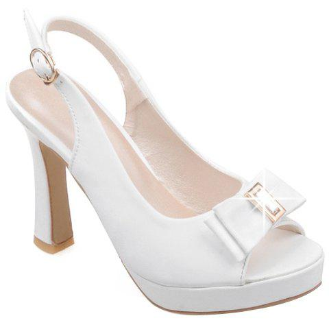 Stylish Patent Leather and Bow Design Womens Peep Toe ShoesShoes<br><br><br>Size: 35<br>Color: WHITE