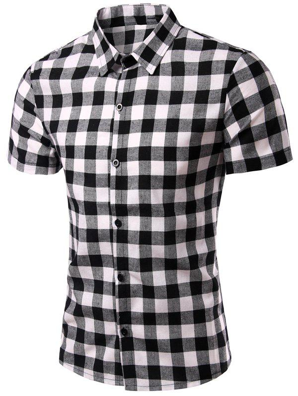 Checked Pattern Turn-Down Collar Short Sleeve Men's Shirt - BLACK L