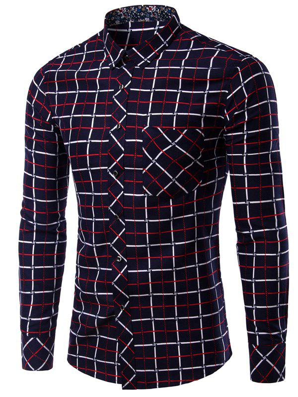 Long Sleeve Checked Pattern Turn-Down Collar Men's Shirt - 3XL RED