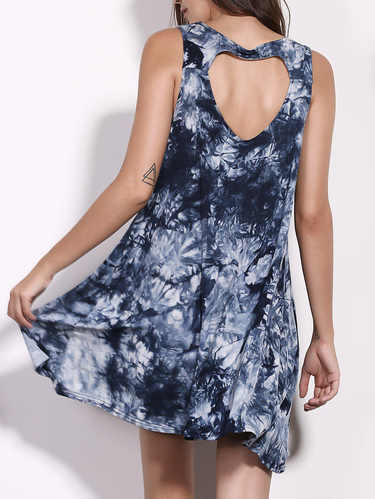 Casual Women's Scoop Neck Floral Print Hollow Out Sleeveless Dress - COLORMIX M