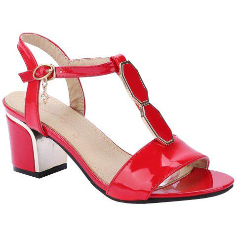 Fashionable Patent Leather and Metal Design Women's Sandals - RED 36