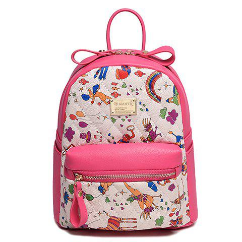 Fashion Print and Metal Design Women's Satchel - ROSE