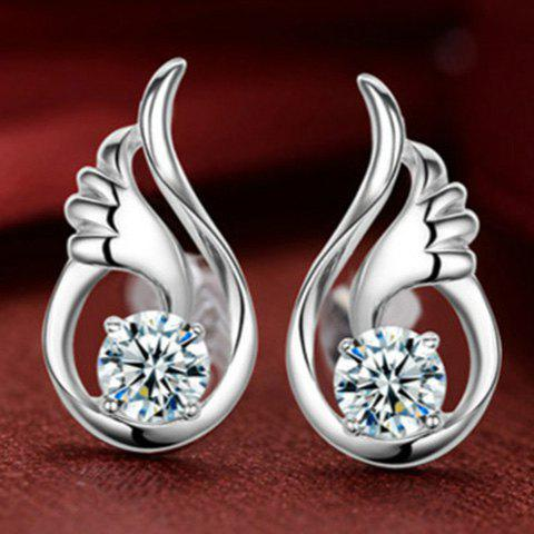 Pair of Wings Rhinestone Stud Earrings - WHITE