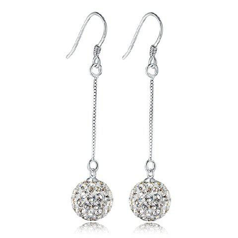 Pair of Ball Rhinestoned Long Drop Earrings - SILVER