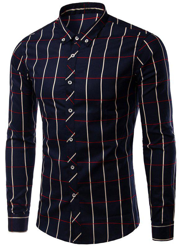 Long Sleeve Plaid Pattern Button-Down Turn-Down Collar Men's Shirt - CADETBLUE L