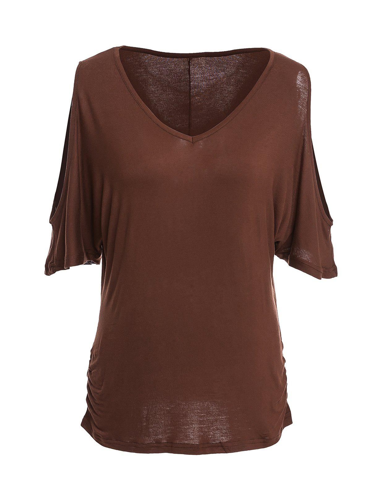 Trendy Half Sleeve V-Neck Pure Color Cut Out Women's T-Shirt - BROWN M