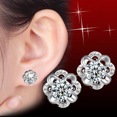 Pair of Floral Rhinestoned Stud Earrings - SILVER