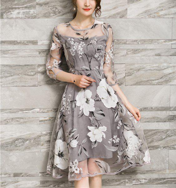 Trendy Voile Splicing 3/4 Sleeve Floral Print A-Ling Dress For Women - GRAY S