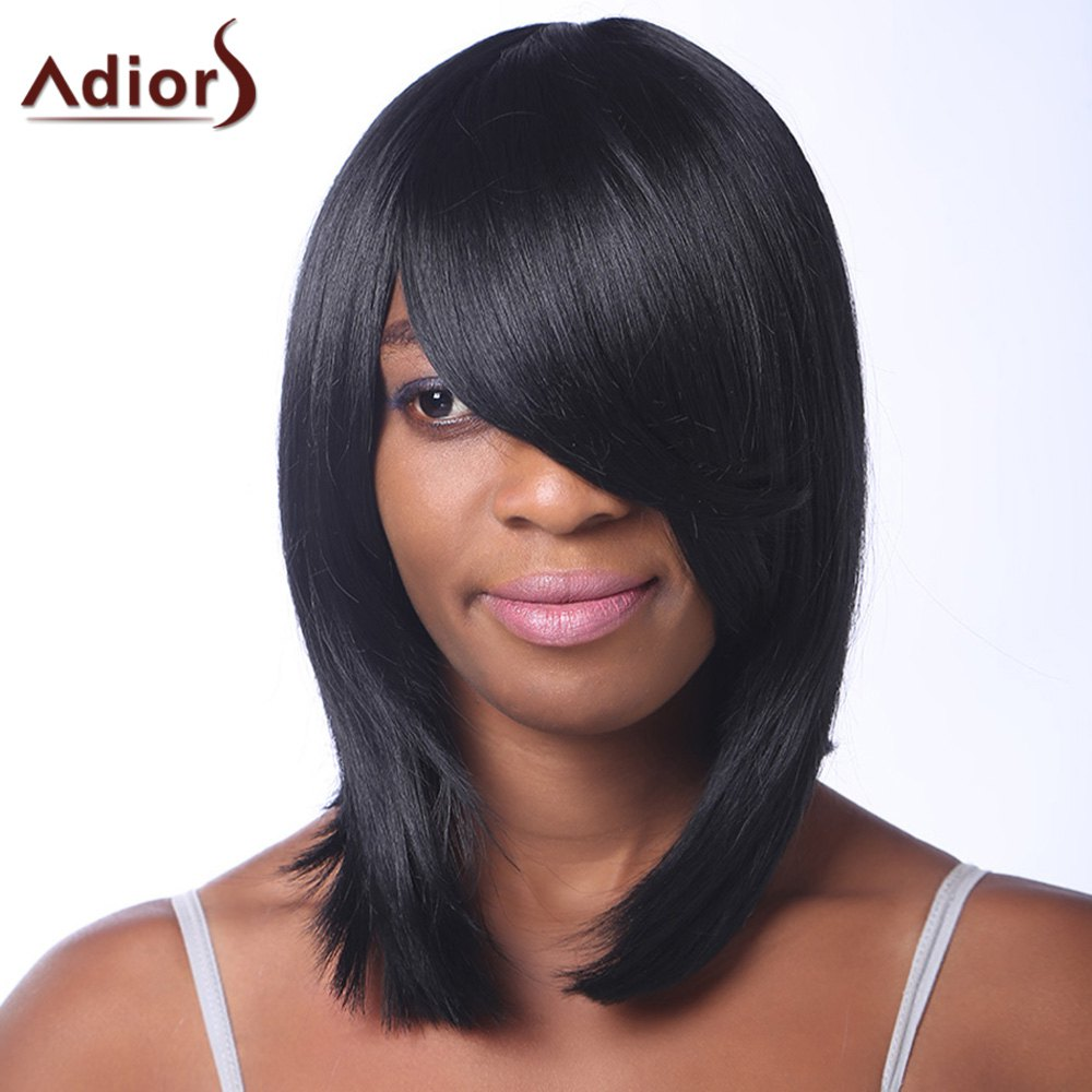 Trendy Straight Heat Resistant Synthetic Black Medium Capless Adiors Wig For Women - BLACK