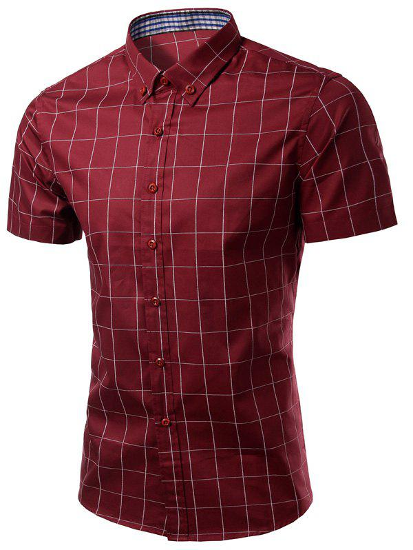 Checked Pattern Turn-Down Collar Button-Down Short Sleeve Men's Shirt - WINE RED M
