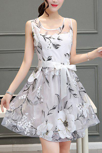 Trendy Voile Splicing Scoop Neck Sleeveless Floral Print A-Line Dress For Women - WHITE S