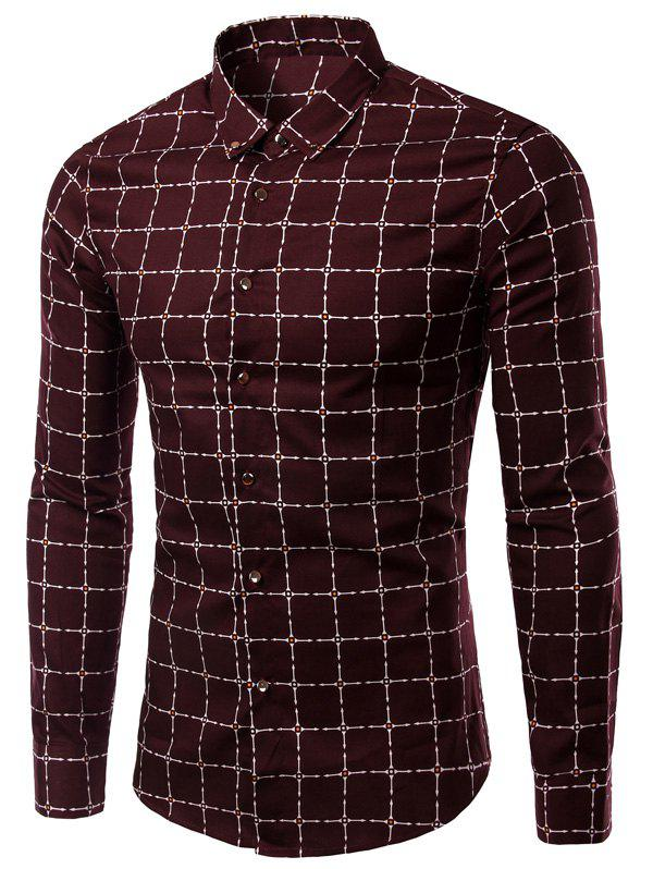 Long Sleeve Checked Pattern Button-Down Turn-Down Collar Men's Shirt - WINE RED XL