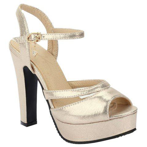 Trendy Peep Toe and Platform Design Women's Sandals - GOLDEN 39