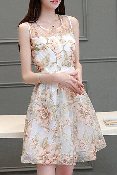 Trendy Scoop Neck Sleeveless Voile Splicing Floral Print A-Line Dress For Women - GOLDEN S