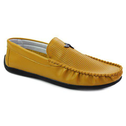 Concise Stitching and PU Leather Design Men's Loafers - YELLOW 43