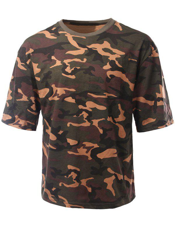 Loose-Fitting Camouflage Drop Shoulder Round Neck Short Sleeve Men's T-Shirt - CAMOUFLAGE S