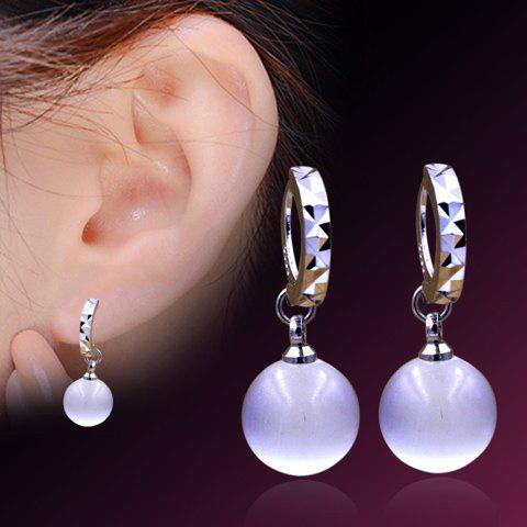 Pair of Faux Crystal Ball Circle Drop Earrings - WHITE