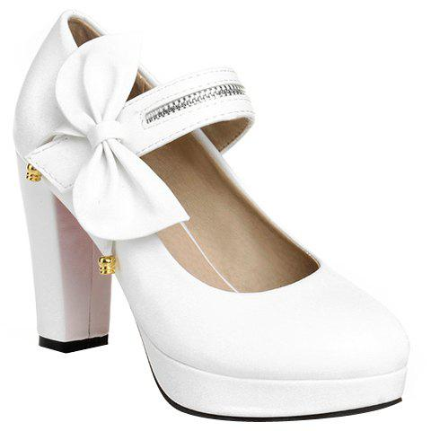 Fashionable Bow and Platform Design Women's Pumps - WHITE 39