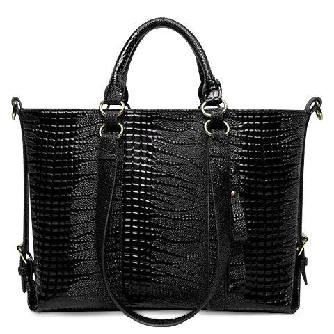 Fashion Solid Color and Embossing Design Women's Tote Bag - BLACK