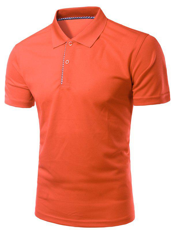 Solid Color Slimming Turn-Down Collar Short Sleeve Men's Polo T-Shirt - JACINTH XL