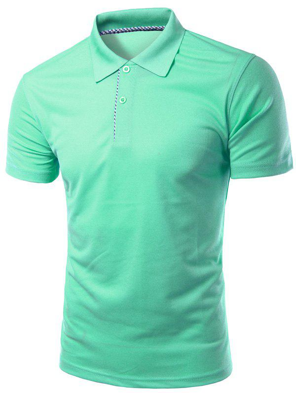 Solid Color Slimming col rabattu manches courtes hommes  's Polo T-Shirt - Vert Cristal L