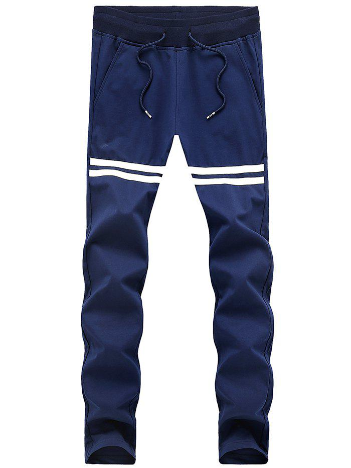 Slimming Striped Lace Up Sport Pants For Men - BLUE XL