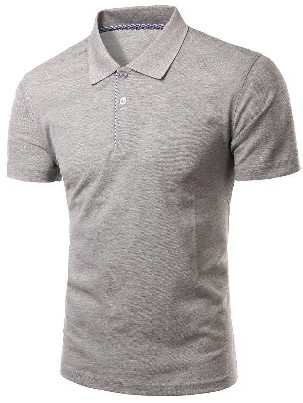 Solid Color Slimming col rabattu manches courtes hommes  's Polo T-Shirt - gris M