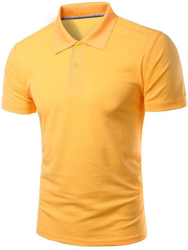 Solid Color Slimming col rabattu manches courtes hommes  's Polo T-Shirt - Jaune M