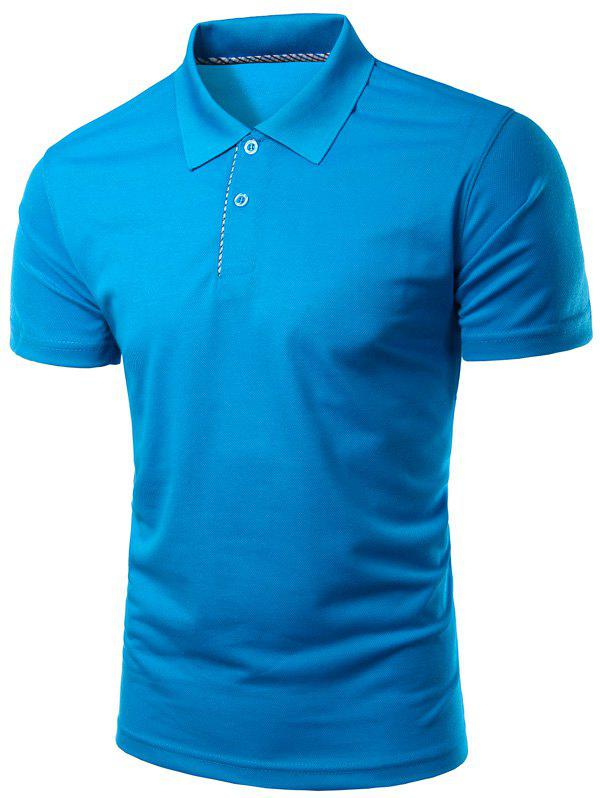 Solid Color Slimming Turn-Down Collar Short Sleeve Men's Polo T-Shirt - SAPPHIRE BLUE M