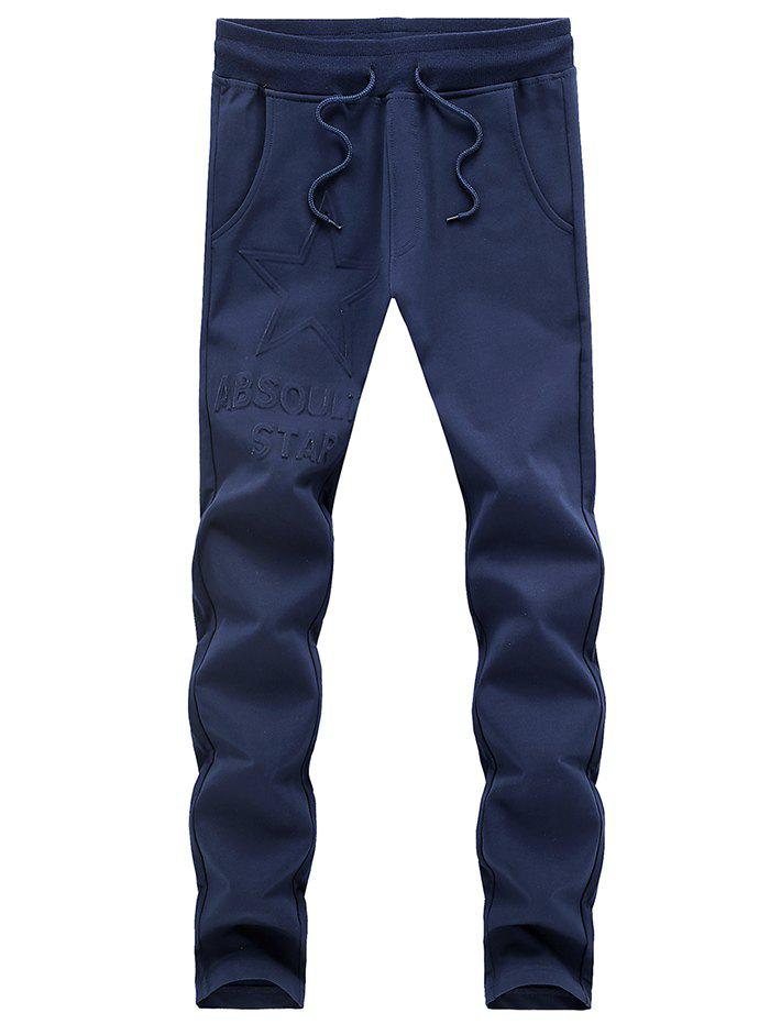 Slimming Solid Color Lace Up Sport Pants For Men - BLUE XL
