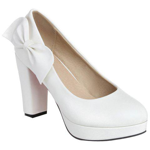 Fashionable Round Toe and Bowknot Design Women's Pumps - WHITE 39