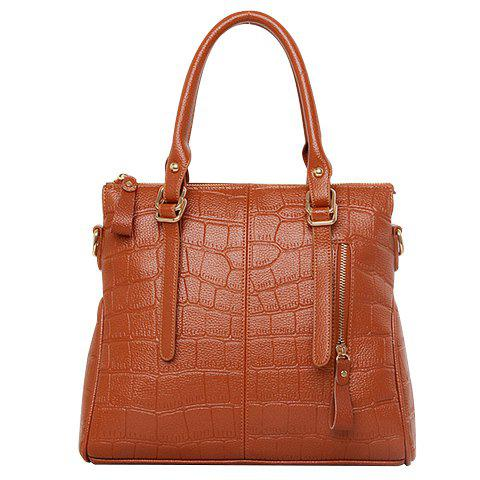 Fashion Solid Color and Embossing Design Women's Tote Bag - BROWN