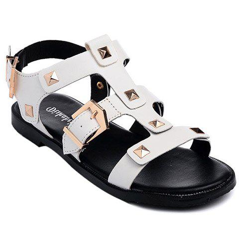 Leisure Buckle and Rivet Design Women's Sandals - WHITE 39