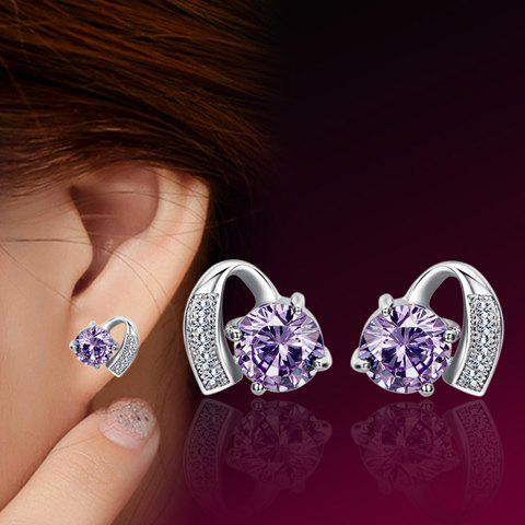 Fake Amethyst Geometric Stud Earrings - PURPLE