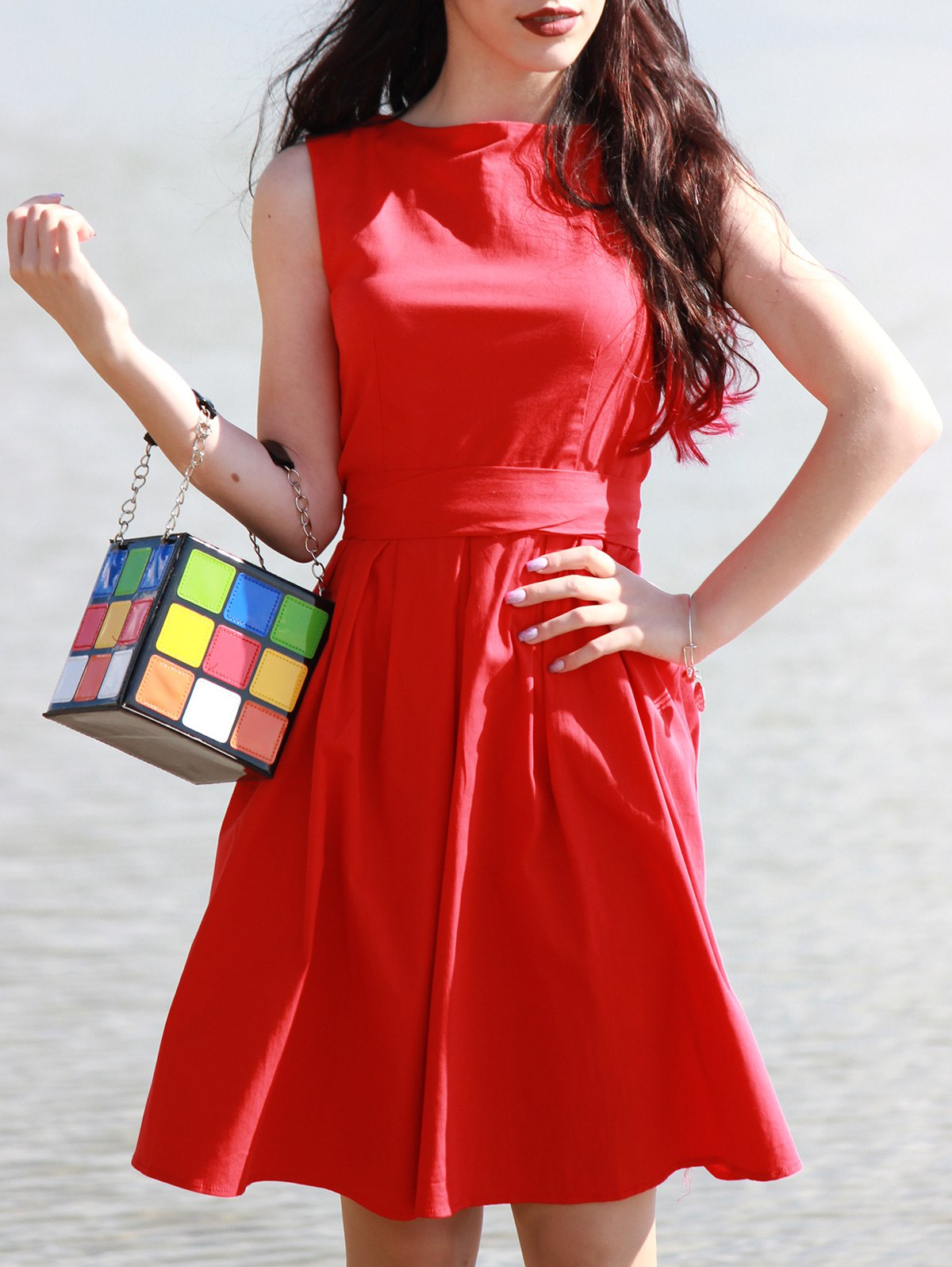 Trendy Color Block and Chains Design Tote Bag For Women - COLORMIX