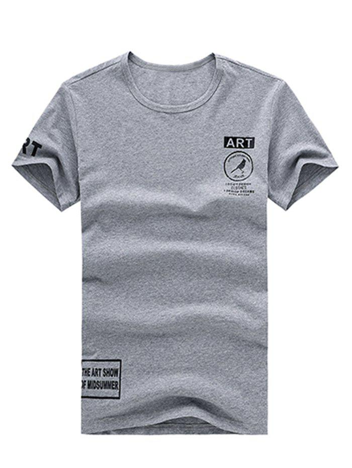Casual Letter Printed Scoop Neck Men's Solid Color T-Shirt - GRAY L
