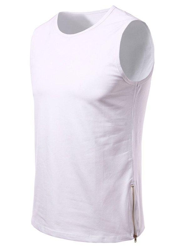 Side Zipper Design Loose-Fitting Round Neck Men's Tank Top - WHITE S