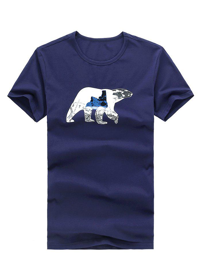 Casual Animal Printed Scoop Neck Men's Solid Color T-Shirt - BLUE XL