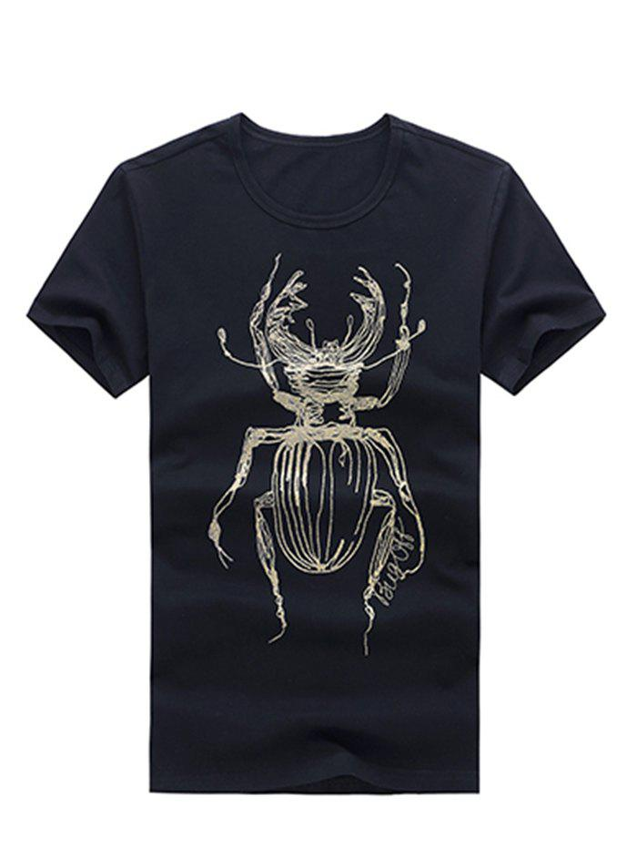 Casual Spider Printed Scoop Neck Men's Solid Color T-Shirt - BLACK 2XL