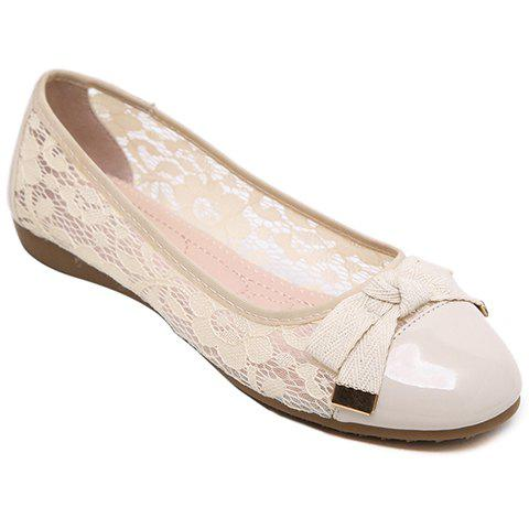 Graceful Lace and Bow Design Women's Flat Shoes - APRICOT 37