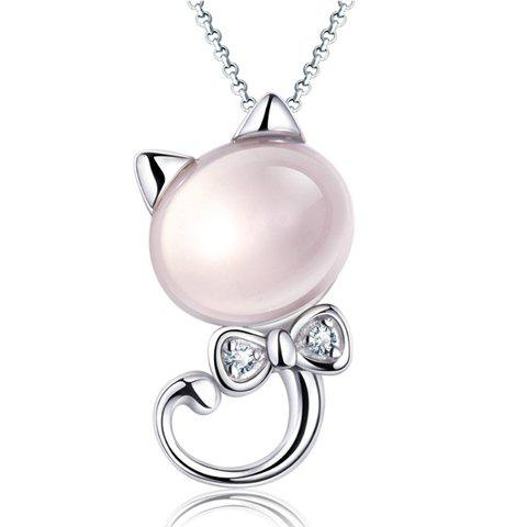 Elegant Cartoon Cat Bowknot Pendant Necklace For Women