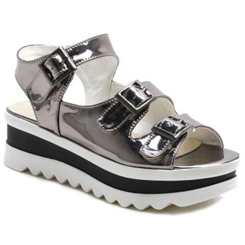 Casual Buckles and Platform Design Women's Sandals - GUN METAL 38
