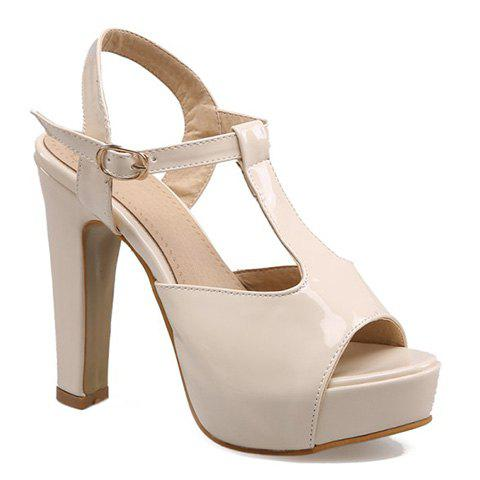 Elegant Solid Color and T-Strap Design Women's Sandals - OFF WHITE 39