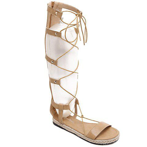 Rome Style Lace-Up and Weaving Design Women's Sandals - APRICOT 36