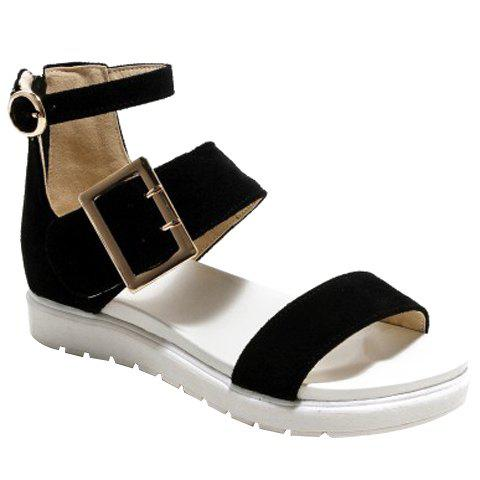 Trendy Suede and Zipper Design Women's Sandals - BLACK 38