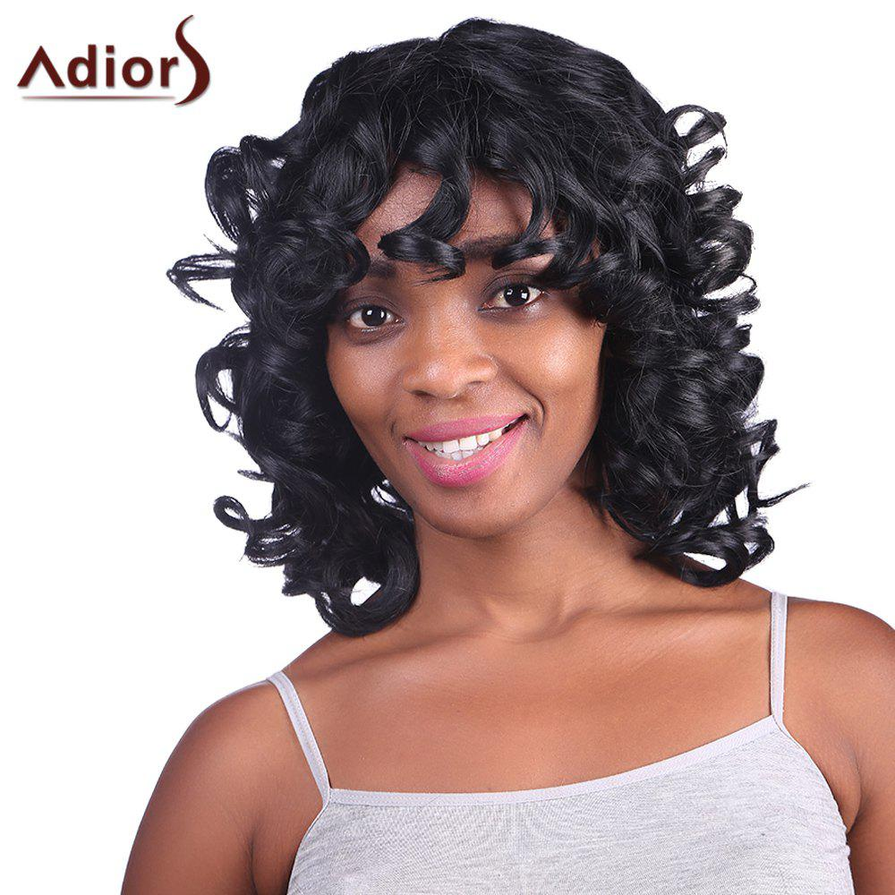 Fashion Fluffy Medium Curly Synthetic Black Women's Capless Adiors Wig - BLACK