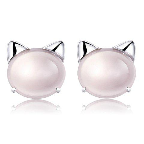 Pair of Cartoon Cat Faux Gem Stud Earrings - COLORMIX
