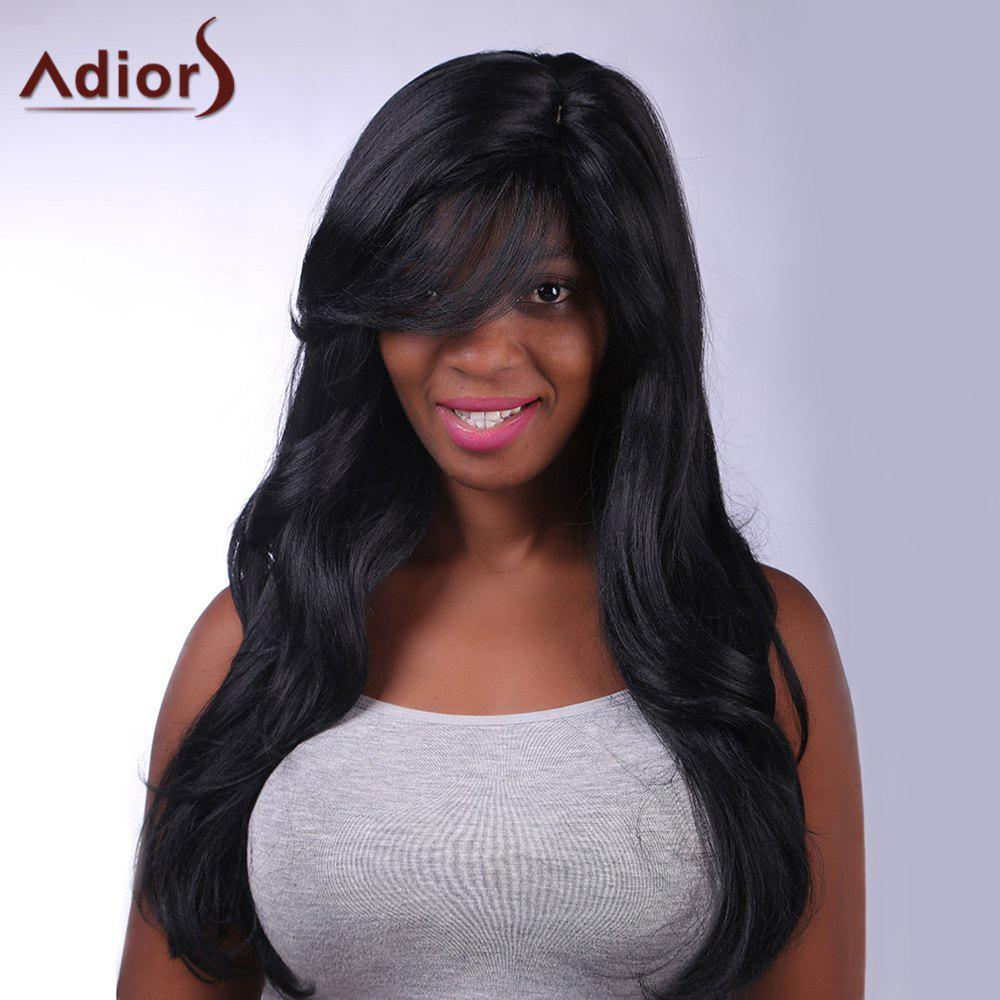 Fluffy Wave Side Bang Synthetic Charming Long Black Capless Adiors Wig For Women fluffy wave capless adiors elegant black side bang synthetic short wig for women