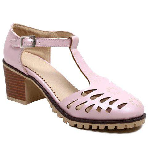 Casual T-Strap and Hollow Out Design Women's Pumps - PINK 39